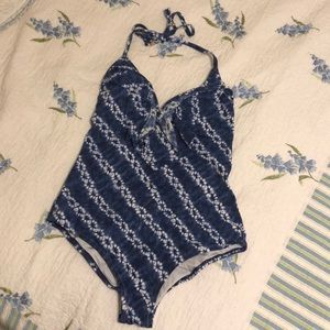 Victoria's Secret blue tie dye ruffle one piece L